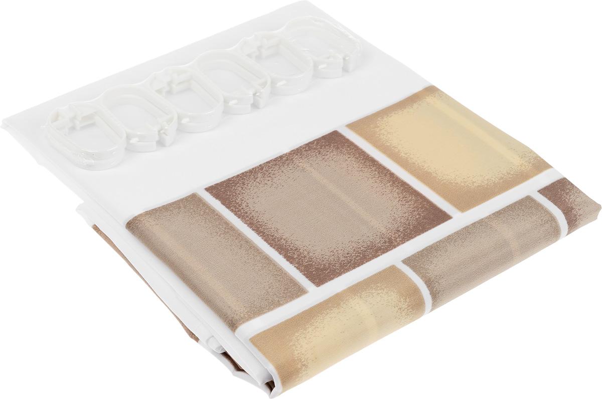 Штора для ванной комнаты Duschy Sauna, цвет: белый, коричневый, 180 см х 200 см622-08Штора для ванной комнаты Duschy Sauna выполнена из полиэстера. Благодаря свойству водонепроницаемости и превосходному дизайну, данный аксессуар прекрасно впишется в любой интерьер ванной комнаты и станет надежной защитой от намокания посторонних предметов. Штора снабжена двенадцатью петельками. В комплект входят 12 пластиковых держателей для шторы.