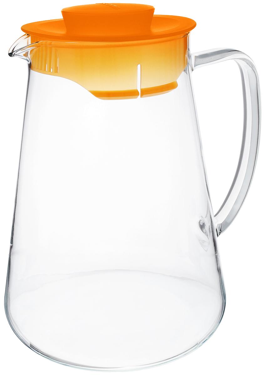 Кувшин Tescoma Teo, цвет: прозрачный, оранжевый, 2,5 л646626_оранжевыйКувшин Tescoma Teo, выполненный из термостойкого бросиликатного стекла, элегантно украсит ваш стол. Кувшин оснащен удобной ручкой и пластиковой крышкой. Он прост в использовании, достаточно просто наклонить его и налить ваш любимый напиток. Форма крышки обеспечивает наливание жидкости без расплескивания. Изделие прекрасно подойдет для холодильника и для подачи на стол воды, сока, компота и других напитков, горячих и холодных. Кувшин Tescoma Teo дополнит интерьер вашей кухни и станет замечательным подарком к любому празднику. Можно мыть в посудомоечной машине и использовать на газовых, стеклокерамических и электрических плитах. Диаметр (по верхнему краю): 10,5 см. Высота кувшина (с учетом крышки): 24 см.