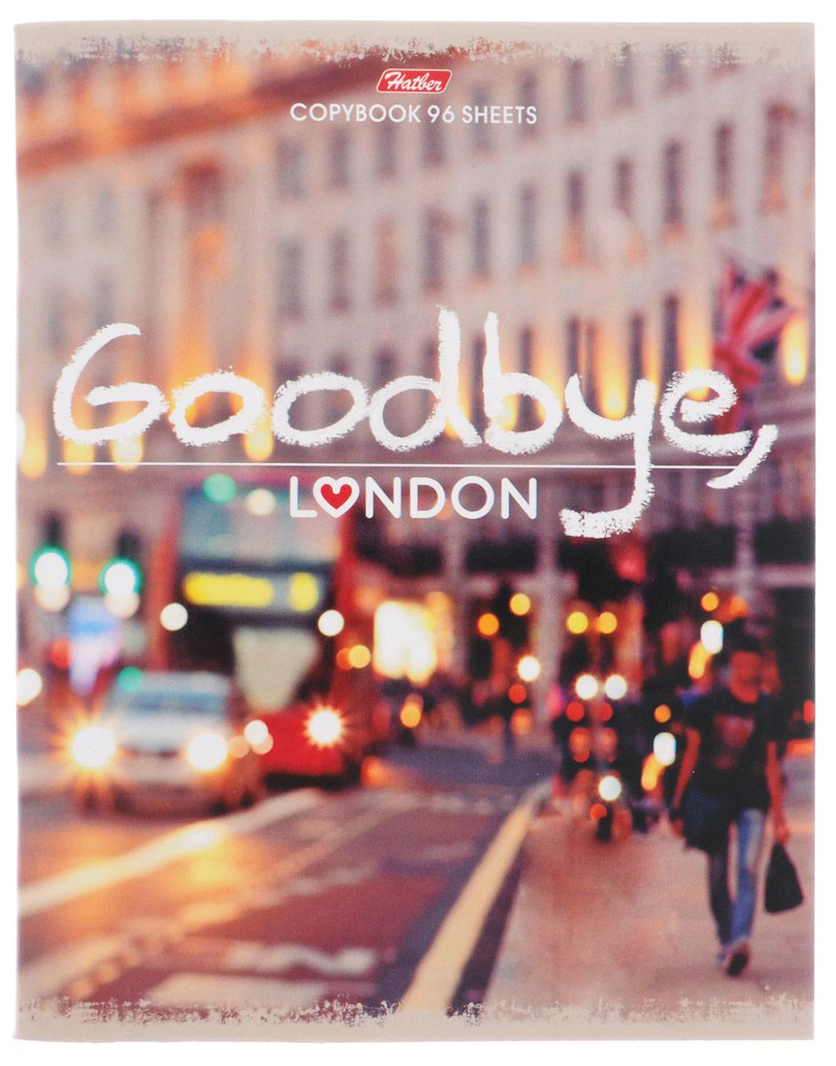 Hatber Тетрадь Goodbye London 96 листов в клетку96Т5В1_15046Тетрадь Hatber Goodbye, London формата A5 подойдет как школьнику, так и студенту. Обложка выполнена из плотного картона, что позволит сохранить тетрадь в аккуратном состоянии на протяжении всего времени использования. Лицевая сторона оформлена надписью Goodbye, London и стильной фотографией города. Внутренний блок тетради, соединенный двумя металлическими скрепками, состоит из 96 листов белой бумаги. Стандартная линовка в клетку голубого цвета дополнена полями. В верхнем углу каждой странички находится разделенное точками место для даты, в нижнем - пустые квадратики для номеров страниц.