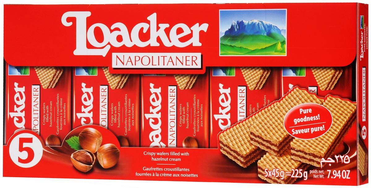 Loacker Наполитанер вафли, 225 г10051-058Хрустящие вафли Loacker Наполитанер имеют множество поклонников во всем мире. 3 свежие вафли с 2 слоями нежнейшего орехового крема (75% продукта!) никого не оставят равнодушным.