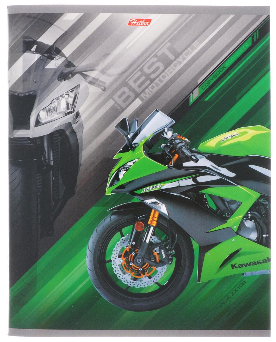 Hatber Тетрадь Спортивные мотоциклы 48 листов в клетку цвет зеленый