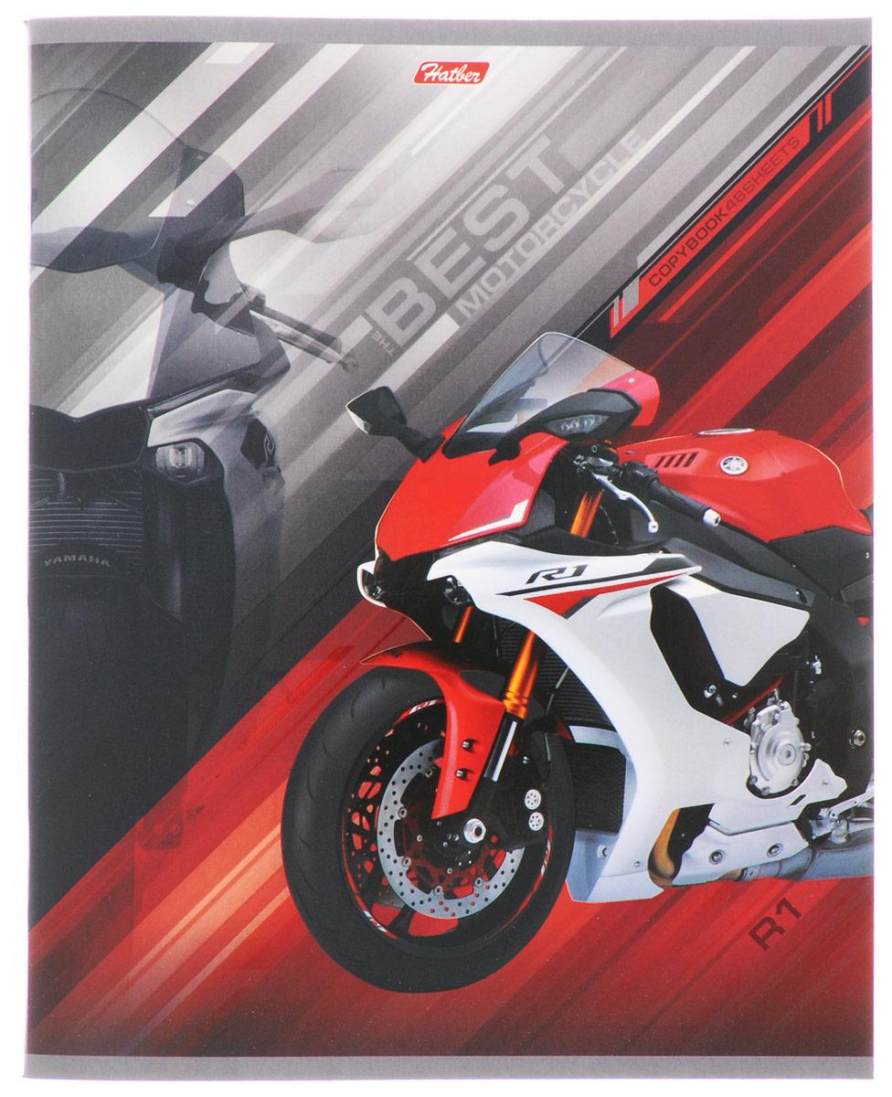 Hatber Тетрадь Спортивные мотоциклы 48 листов в клетку цвет красный