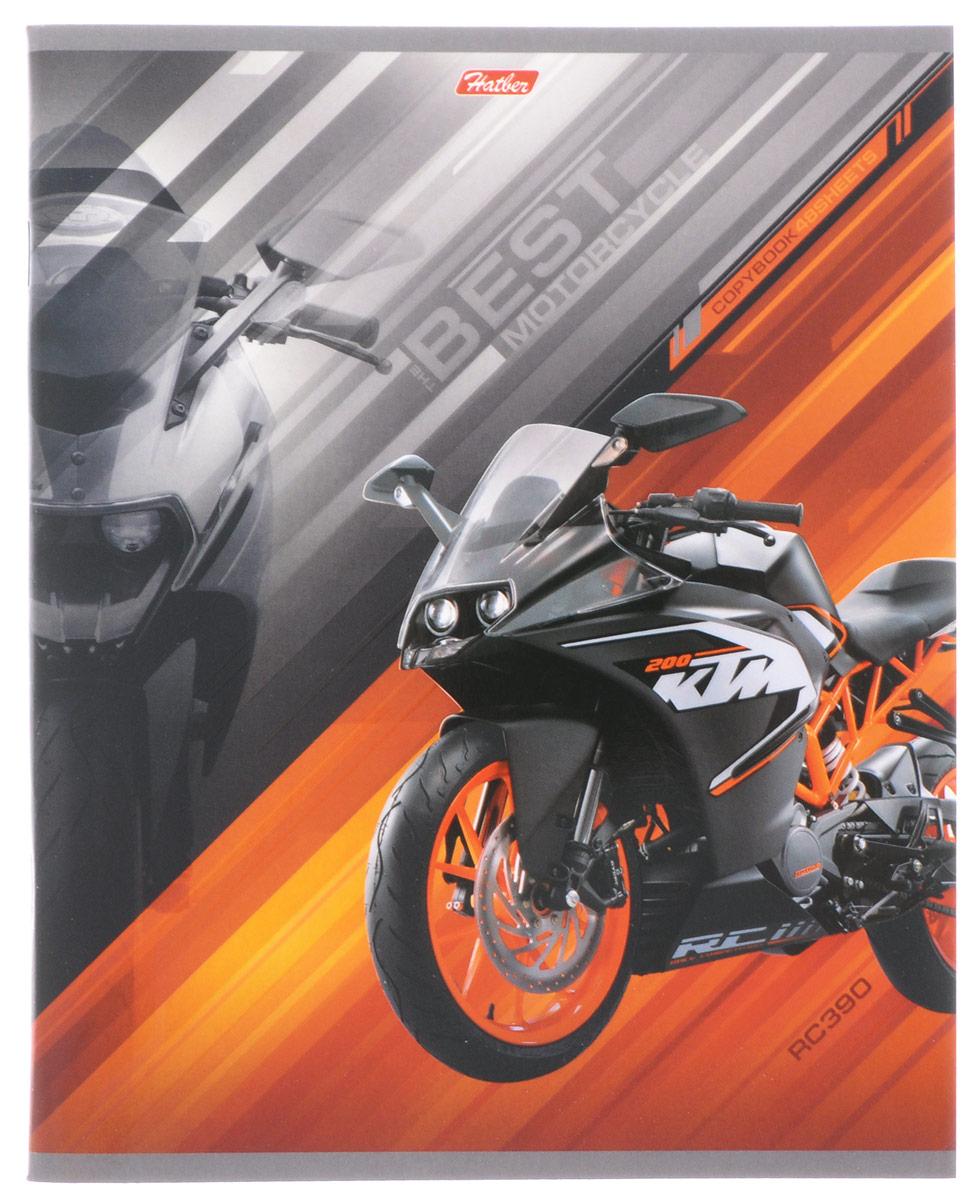 Hatber Тетрадь Спортивные мотоциклы 48 листов в клетку цвет оранжевый