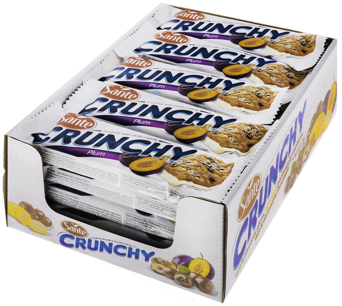 Sante Crunchy батончик мюсли со сливой в ванильной глазури, 40 г (25 шт)
