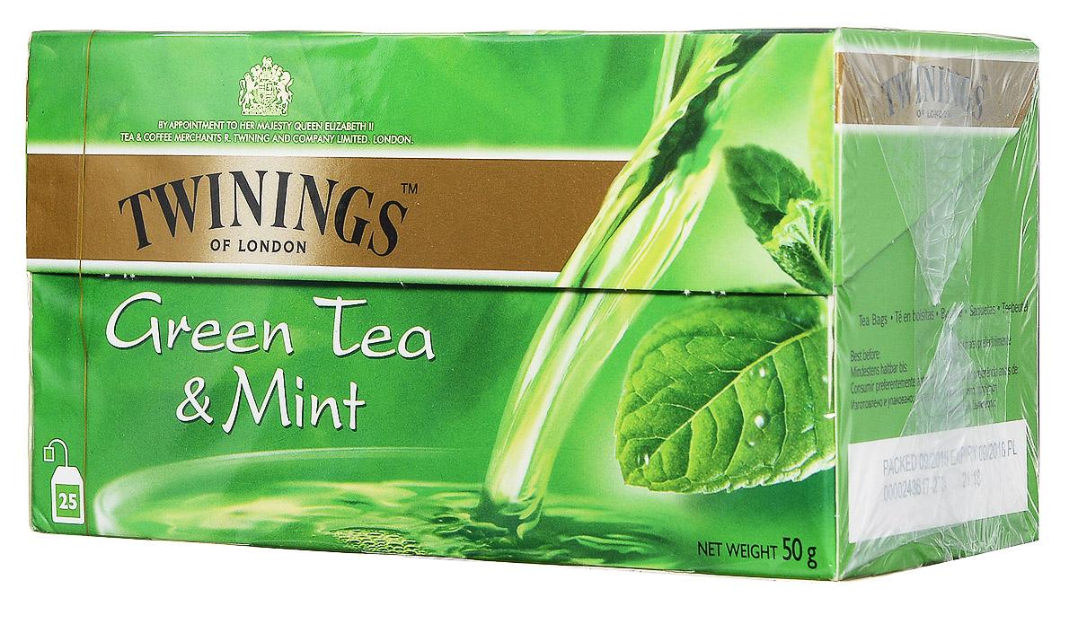 Twinings Green Tea & Mint зеленый чай c мятой в пакетиках, 25 шт070177063597Twinings Green Tea & Mint - смесь сортов зеленого чая и мяты.