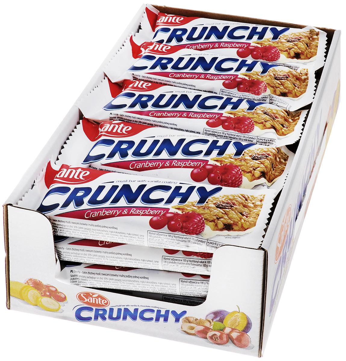 Sante Crunchy батончик мюсли с клюквой и малиной в ванильной глазури, 40 г (25 шт)