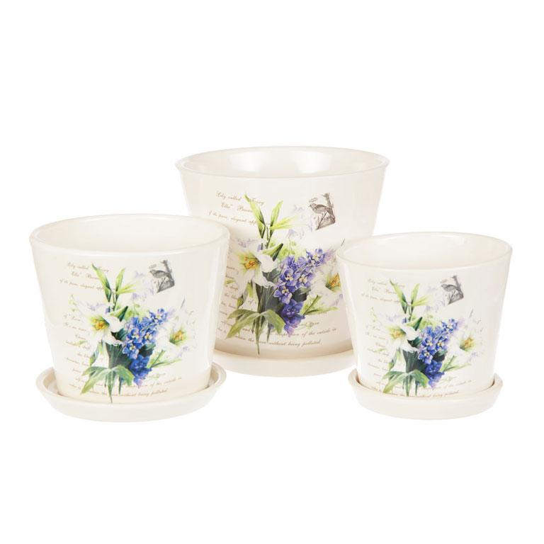 Набор горшков для цветов Miolla Лилия, 3 предметаC7211-7Набор горшочков из керамики, отличного качества. Хорошо будут смотреться как основа для топиариев и флористических композиций. А так же замечательно для комнатных цветов. Комплект из 3 горшков.