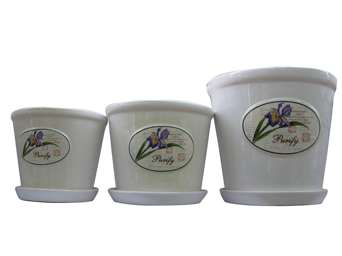 Набор горшков для цветов Miolla Ирис, 3 предметаC7211-8Набор горшочков из керамики, отличного качества. Хорошо будут смотреться как основа для топиариев и флористических композиций. А так же замечательно для комнатных цветов. Комплект из 3 горшков.