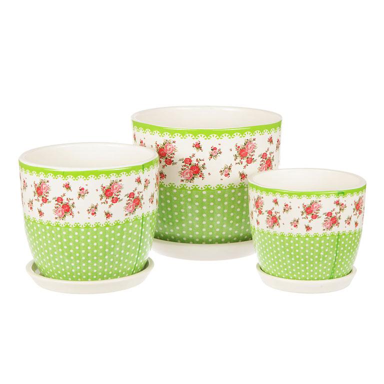 Набор горшков для цветов Miolla Луг, 3 предметаC7211-9Набор горшочков из керамики, отличного качества. Хорошо будут смотреться как основа для топиариев и флористических композиций. А так же замечательно для комнатных цветов. Комплект из 3 горшков.