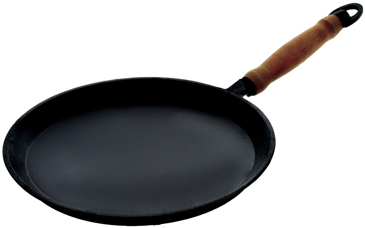 Сковорода блинная Катюша, чугунная. Диаметр 24 смбл240Блинная сковорода Катюша, изготовленная из натурального экологически безопасного чугуна, оснащена деревянной ручкой. Чугун является одним из лучших материалов для производства посуды. Его можно нагревать до высоких температур. Он очень практичный, не выделяет токсичных веществ, обладает высокой теплоемкостью и способен служить долгие годы. Плоская форма идеальна для приготовления блинов и яичницы. Вы всегда будете готовить самую вкусную и полезную для здоровья пищу. Не рекомендуется мыть в посудомоечной машине. Подходит для всех типов плит, включая индукционные. Длина ручки: 17 см. Высота стенки: 2 см.