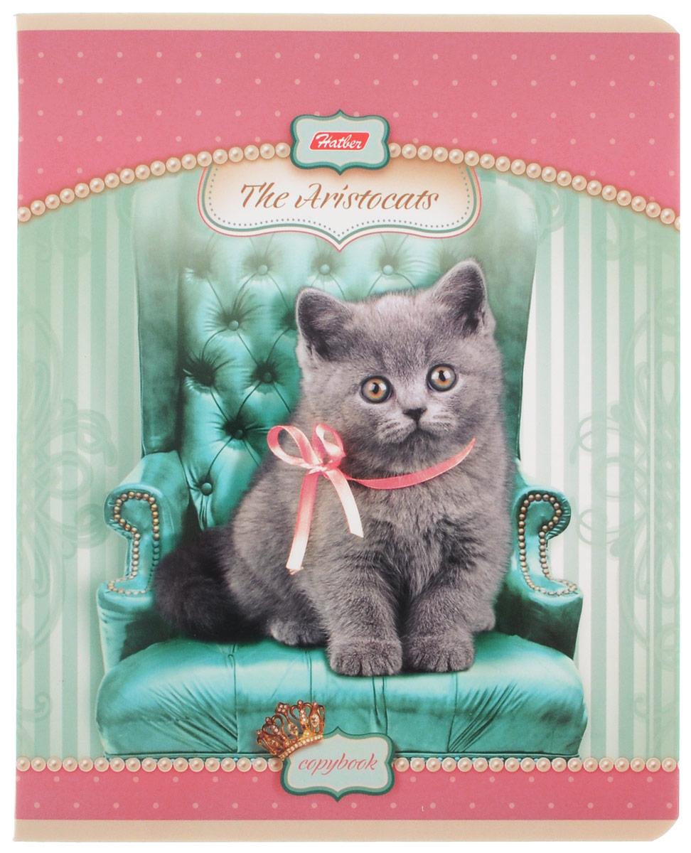 Hatber Тетрадь Коты-аристократы 48 листов в клетку цвет светло-розовый
