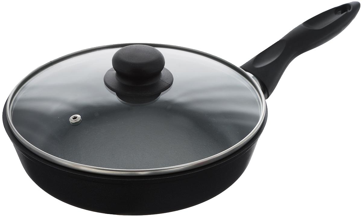Сковорода Катюша с крышкой, с антипригарным покрытием. Диаметр 22 см4122с/аСковорода Катюша, выполненная из литого алюминия с утолщенным дном, оснащена удобной пластиковой ручкой и стеклянной крышкой TimA. Благодаря внутреннему антипригарному покрытию пища не пригорает и не прилипает к стенкам. Подходит для жарки деликатных продуктов, например, рыбы и овощей. Легко чистится. Удобная эргономичная ручка из пластика, с практичным ушком для подвешивания, прекрасно размещается в вашей руке и защищает от ожогов. Стеклянная крышка оснащена металлическим ободом и отверстием для выхода пара. Подходит для всех типов плит, кроме индукционных. Можно мыть в посудомоечной машине. Высота стенки: 5,5 см. Длина ручки: 15 см.