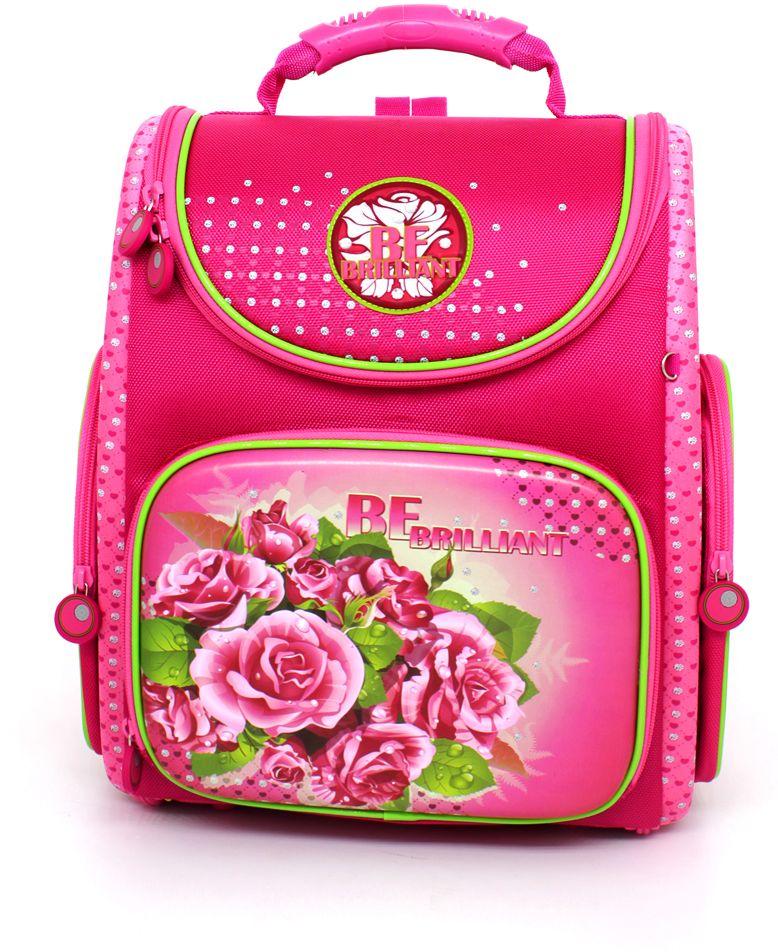 Hummingbird Ранец школьный Розы цвет розовыйK94Компактная, эргономичная, обтекаемая форма, которая органично смотрится на спине даже некрупного ребенка. Нагрузка на позвоночник ребенка минимальна и распределяется равномерно. Ортопедическая жесткая спинка back-to-back (Спина-к-спине) обеспечивает более плотное прилегание к спине ребёнка, распределяет нагрузку. Легко регулируемые широкие и мягкие эластичные лямки в форме маечки обеспечивают низкую посадку (до головы). Круговая молния позволяет расстегнуть ранец, чтобы его легко можно было почистить внутри. (Для того, чтобы в школе ребенок случайно не расстегнул молнии предусмотрены специальные кнопки сбоку). Поясничный регулируемый поддерживающий ремень (перенос части веса ранца с плеч на талию и бедра – равномерное распределение веса ранца). Светоотражающие элементы. Плотный материал (1680 den плотности) долго носится, легко чистится и работает, как катафоты. Ручка сверху для переноски ранца. Ручка-петелька (можно повесить ранец...