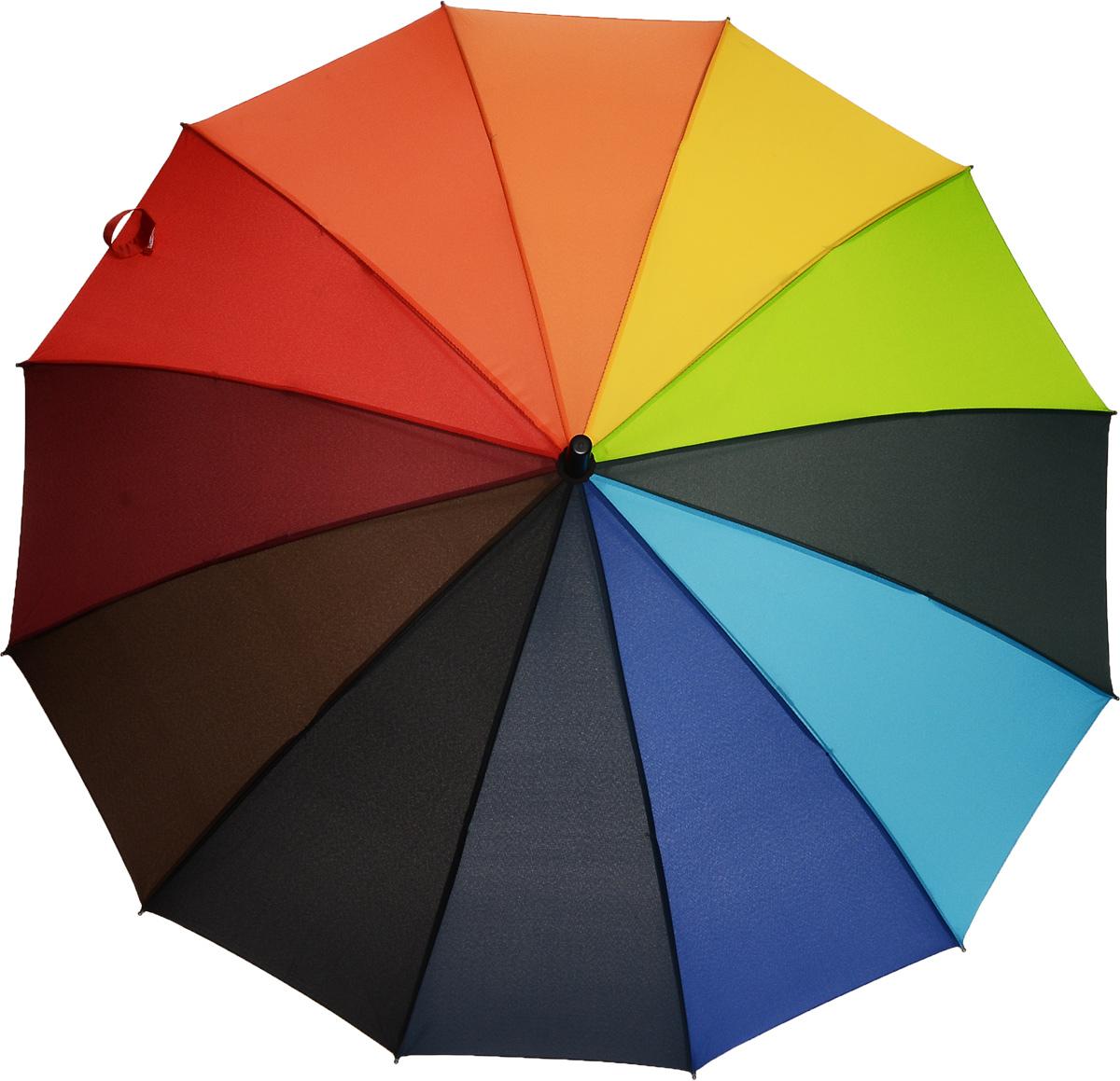Зонт-трость женский Эврика Радуга, цвет: мультицвет. 9105091050Яркий полуавтоматический зонт-трость порадует своим оригинальным принтом даже в ненастную погоду. Купол зонта выполнен из полиэстера с водоотталкивающей пропиткой, каркас содержит 12 спиц и оснащен системой анти-ветер. Эргономичная рукоятка дополнена петлей для подвешивания. Практичный зонт Эврика выполнен для жизнерадостных и активных людей!