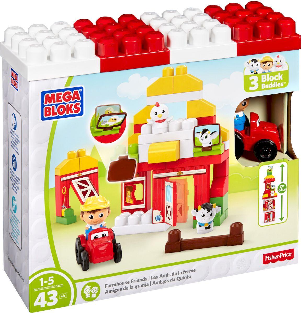 Mega Bloks First Builders Конструктор Друзья на фермеDPJ57Конструктор Mega Bloks First Builders. Друзья на ферме является прекрасным примером набора, стимулирующего воображение. Эта игрушка отправляет детей на приключения на ферме, это целый скотный двор, где вы можете построить дом для коровы и курицы, и фермер приступит к работе. Но дети не ограничиваются традиционным сараем, они могут использовать блоки, чтобы построить что угодно, даже более чем полуметровую башню с насестом для курицы. Придумайте свою ферму! Этот конструктор поставляется с крупными 43 деталями, удобными для маленьких ручек. Они складываются вместе и разъединяются с легкостью, подходят для детей в возрасте от 1 до 5 лет. В комплект также входят специальные детали, такие как подвижные двери и окна, панели для строительства здания еще выше и быстрее. В дополнение к корове и курочке, в комплекте также имеются подвижный трактор и фермер.
