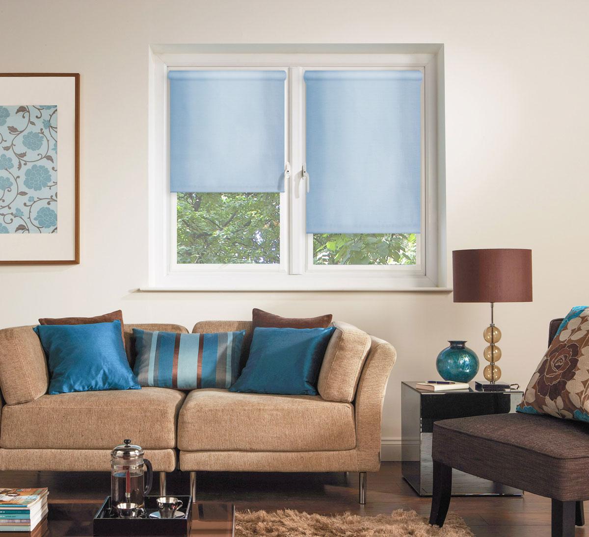 Штора рулонная Миниролло, 98х170см, тканевые, цвет: голубой3098005