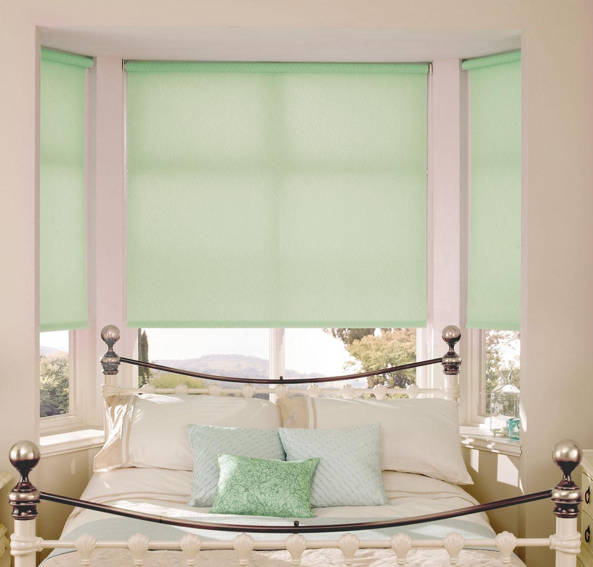 Штора рулонная Миниролло, 90х170см, тканевые, цвет: светло-зеленый3090017