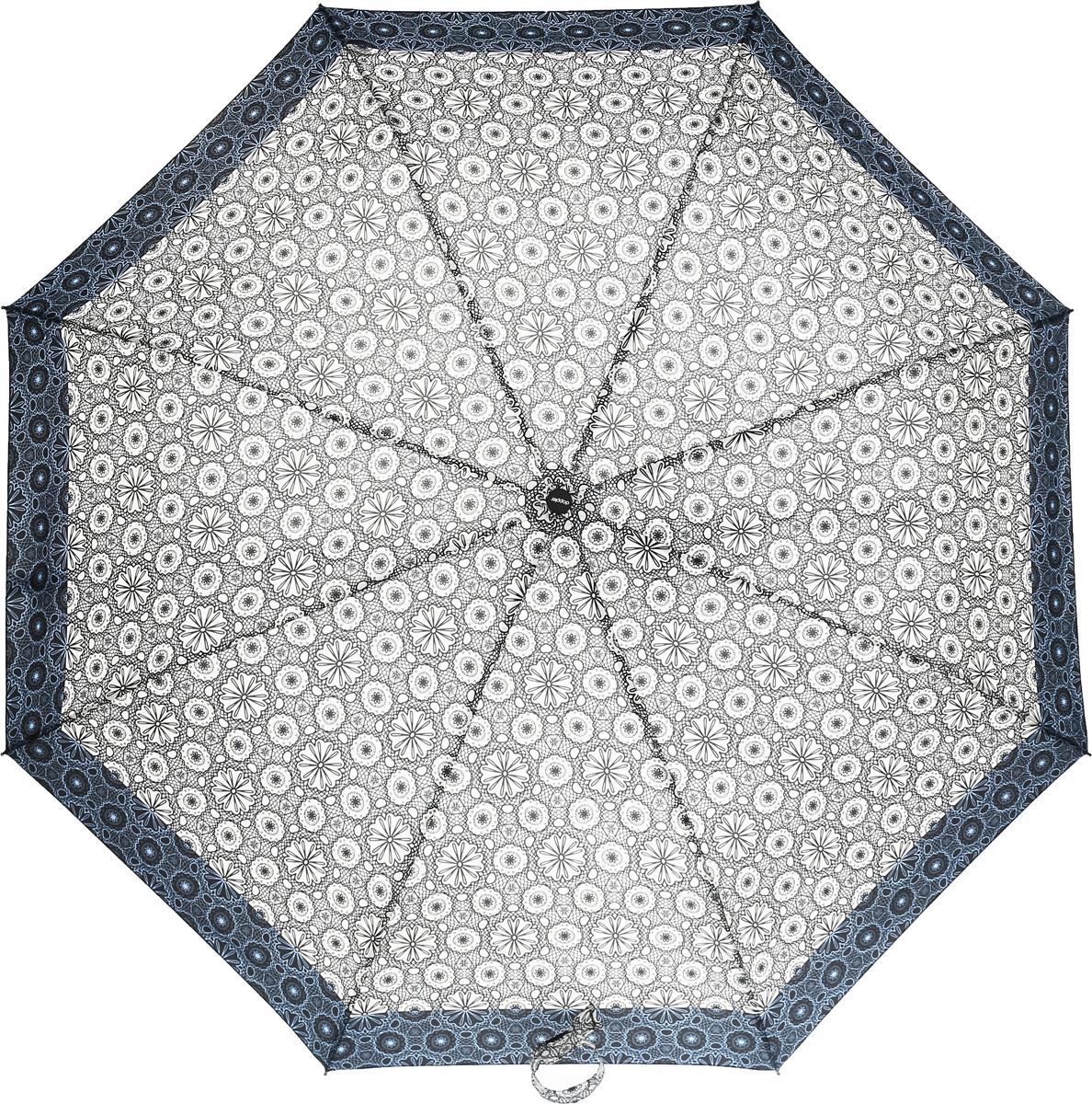 Doppler Зонт 744146521 Style, 3 сложения, система антиветер, лакированная ручка744146521 blue flowersЗонт Doppler, всемирно известный бренд, имеющий многолетнюю традицию.