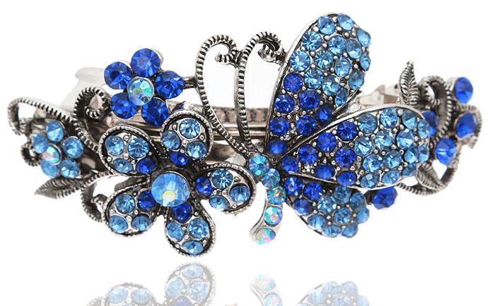 Заколка для волос Летнее настроение в византийском стиле от D.Mari. Кристаллы Aurora Borealis, стразы голубого и синего цвета, бижутерный сплав серебряного тона. ГонконгPD518Заколка для волос Летнее настроениев византийском стиле от D.Mari. Кристаллы Aurora Borealis, стразы голубого и синего цвета, бижутерный сплав серебряного тона. Гонконг. Размер - 9 х 4 см.