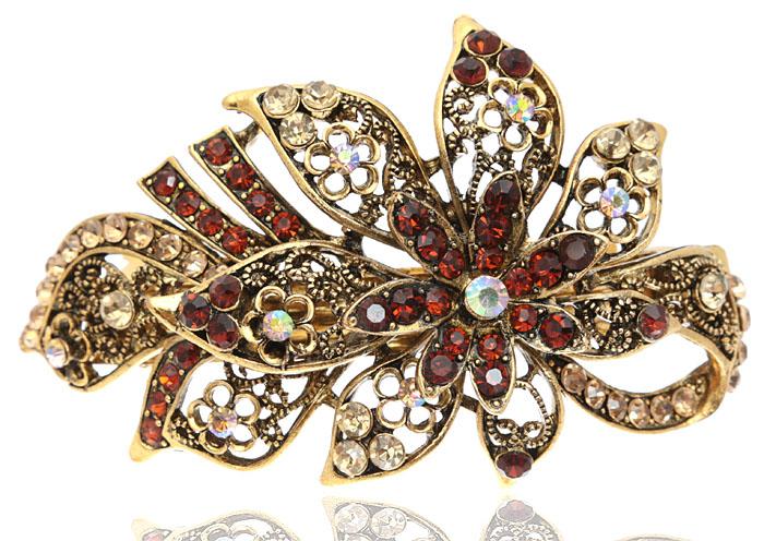 Заколка для волос Цветок Тиаре в византийском стиле от D.Mari. Кристаллы Aurora Borealis, кристаллы золотистого и янтарного цвета, бижутерный сплав старое золото. ГонконгBR77KL236Заколка для волос Цветок Тиаре в византийском стиле от D.Mari. Кристаллы Aurora Borealis, кристаллы золотистого и янтарного цвета, бижутерный сплав старое золото. Гонконг. Размер - 10 х 5 см.