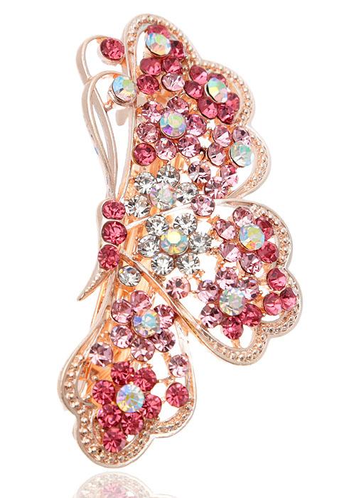Заколка для волос Крылья бабочки от D.Mari. Кристаллы Aurora Borealis, кристаллы розового цвета, бижутерный сплав золотого тона. Гонконг331668Заколка для волос Крылья бабочки от D.Mari. Кристаллы Aurora Borealis, кристаллы розового цвета, бижутерный сплав золотого тона. Гонконг. Размер - 7 х 3 см.