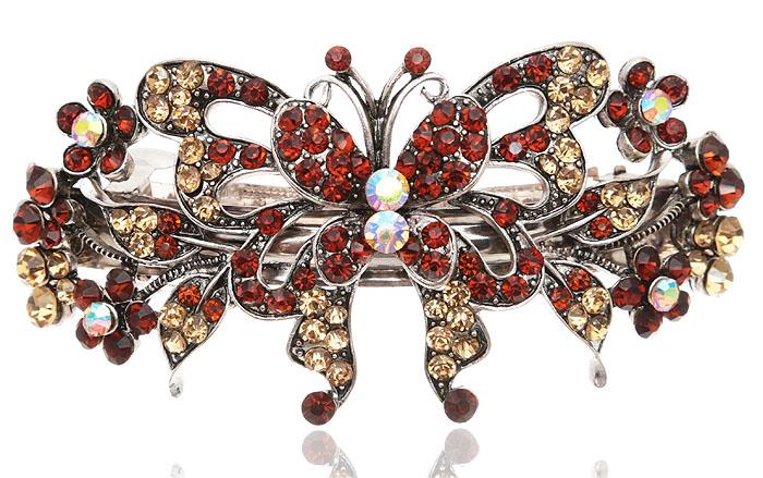 Заколка для волос Бабочка в византийском стиле от D.Mari. Кристаллы Aurora Borealis, стразы золотистого и янтарного цвета, бижутерный сплав серебряного тона. ГонконгK 15_шампань/стразыЗаколка для волос Бабочка в византийском стиле от D.Mari. Кристаллы Aurora Borealis, стразы золотистого и янтарного цвета, бижутерный сплав серебряного тона. Гонконг. Размер - 10 х 5 см.