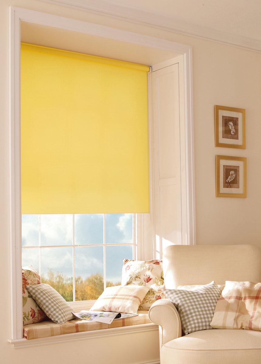 Миниролло KauffOrt 90х170 см, цвет: желтый3090003Рулонная штора Миниролло выполнена из высокопрочной ткани желтого цвета, которая сохраняет свой размер даже при намокании. Ткань не выцветает и обладает отличной цветоустойчивостью. Миниролло - это подвид рулонных штор, который закрывает не весь оконный проем, а непосредственно само стекло. Такие шторы крепятся на раму без сверления при помощи зажимов или клейкой двухсторонней ленты. Окно остаётся на гарантии, благодаря монтажу без сверления. Такая штора станет прекрасным элементом декора окна и гармонично впишется в интерьер любого помещения.