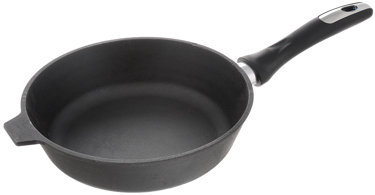 Сковорода чугунная Катюша. Диаметр 22 см722Сковорода Катюша, изготовленная из натурального экологически безопасного чугуна, оснащена пластиковой ручкой. Чугун является одним из лучших материалов для производства посуды. Его можно нагревать до высоких температур. Он очень практичный, не выделяет токсичных веществ, обладает высокой теплоемкостью и способен служить долгие годы. Такая сковорода замечательно подойдет для приготовления жаренных и тушеных блюд, а также прекрасно подходит для приготовления как стейков, так и овощей, при этом результат всегда просто потрясающий. Вы всегда будете готовить самую вкусную и полезную для здоровья пищу. Подходит для всех типов плит, включая индукционные. Можно мыть в посудомоечной машине. Длина ручки: 17 см. Высота стенки: 6,5 см.