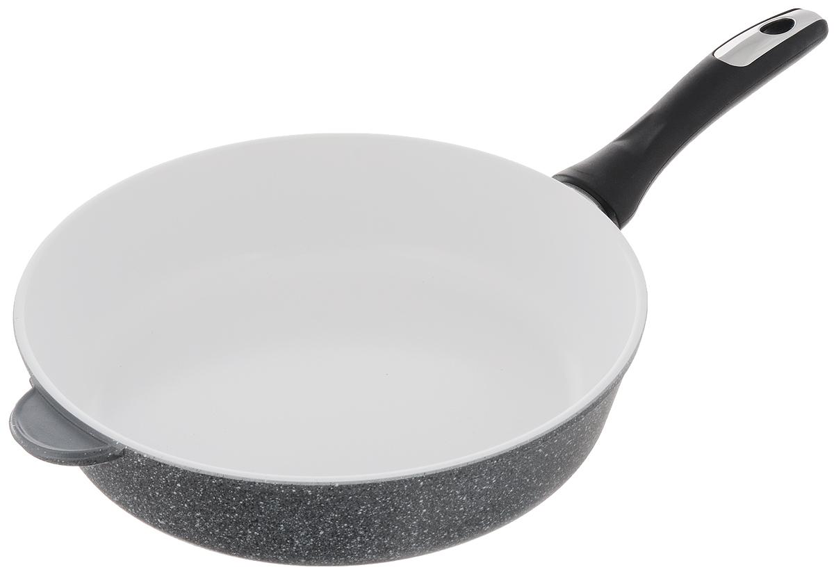 Сковорода Катюша, с керамическим покрытием. Диаметр 28 см3528Сковорода Катюша изготовлена из высококачественного алюминия. Внутреннее керамическое покрытие предотвращает пригорание и обеспечивает быстрое и качественное приготовление пищи. Покрытие выдерживает температуру до 450°С и обладает высокой прочностью. При нагревании не выделяется вредной примеси PFOA, сковорода экологична и абсолютно безопасна для приготовления пищи. Утолщенное дно обеспечивает быстрый нагрев и равномерное распределение тепла по всей поверхности. Ручка, выполненная из пластика, не нагревается в процессе готовки и обеспечивает надежный хват. Подходит для всех типов плит, кроме индукционных. Можно мыть в посудомоечной машине. Высота стенки: 7,3 см. Длина ручки: 19 см.