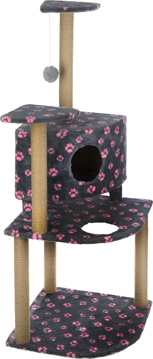 Игровой комплекс для кошек Меридиан, с домиком и когтеточкой, цвет: серый, розовый, бежевый, 55 х 55 х 140 смД441 Ла_серый,розовые лапыИгровой комплекс для кошек Меридиан выполнен из высококачественного ДВП и ДСП и обтянут искусственным мехом. Изделие предназначено для кошек. Комплекс имеет 3 яруса. Ваш домашний питомец будет с удовольствием точить когти о специальные столбики, изготовленные из джута. А отдохнуть он сможет либо на полках, либо в домике. На одной из полок расположена игрушка, которая еще сильнее привлечет внимание питомца. Общий размер: 55 х 53 х 150 см. Размер домика: 42 х 42 х 31 см. Размер полок: 26 х 26 см. Размер нижнего яруса: 55 х 53 см.