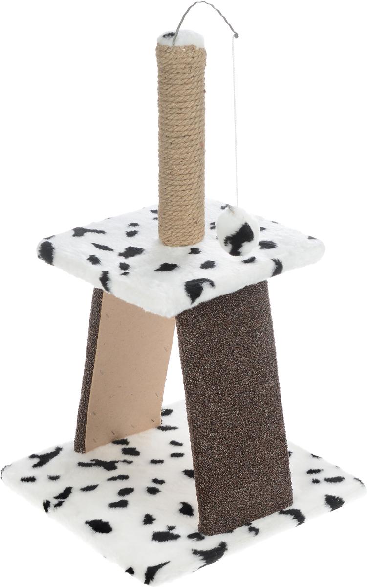 Когтеточка Меридиан Пирамидка, с игрушкой, цвет: белый, черный, бежевый, 40 х 40 х 74 смК110_белый, черные пятнаКогтеточка Меридиан Пирамидка поможет сохранить мебель и ковры в доме от когтей вашего любимца, стремящегося удовлетворить свою естественную потребность точить когти. Изделие изготовлено из дерева, искусственного меха, джута и ковролина. Товар продуман в мельчайших деталях и, несомненно, понравится вашей кошке. На столбике имеется игрушка, которая привлечет внимание питомца. Всем кошкам необходимо стачивать когти. Когтеточка - один из самых необходимых аксессуаров для кошки. Для приучения к когтеточке можно натереть ее сухой валерьянкой или кошачьей мятой. Когтеточка поможет вашему любимцу стачивать когти и при этом не портить вашу мебель. Размер основания: 40 х 40 см. Высота когтеточки: 74 см. Размер верхней полки: 31 х 31 см.