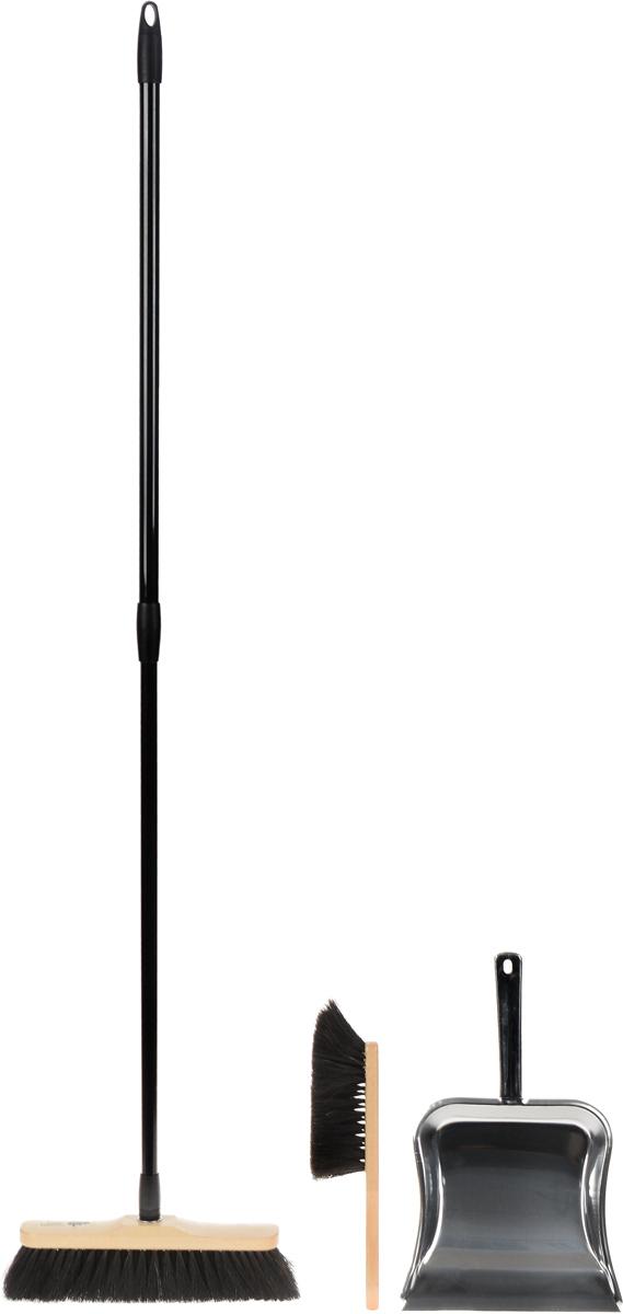 Набор для сухой уборки Rival Natur Line, 3 предмета102640_черный, бежевыйКрасивый, эксклюзивный набор для домашней сухой уборки Rival Natur Line состоит из швабры, совка и щетки. С помощью швабры и щетки вы легко соберете мусор со всех видов полов, не образуя пыли. Они имеют длинную мягкую щетину, которая крепится к деревянной основе. Швабра снабжена удобной телескопической ручкой, выполненной из стали. Телескопическая ручка позволит использовать ее в труднодоступных местах. Совок изготовлен из высококачественного металла. Благодаря резиновому краю совка, в него легко сметать грязь и мусор. С набором Rival Natur Line уборка станет легче и приятнее. Размер рабочей части швабры: 28 х 7 см. Длина ворса швабры: 6 см. Длина ручки швабры: 73-130 см. Длина щетки: 29 см. Размер рабочей части щетки: 14 х 4,5 см. Длина ворса щетки: 6 см. Размер рабочей части совка: 23,5 х 22 см. Длина ручки совка: 15 см.