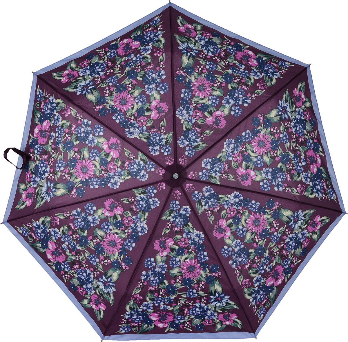 Зонт женский Henry Backer, 3 сложения, цвет: красный. U26204 Forest flowersU26204 Forest flowersЖенский зонт с цветочным принтом «Лесные цветы», автомат Ветроустойчивый каркас сделан из алюминия и фибергласса, стержень – из стали.