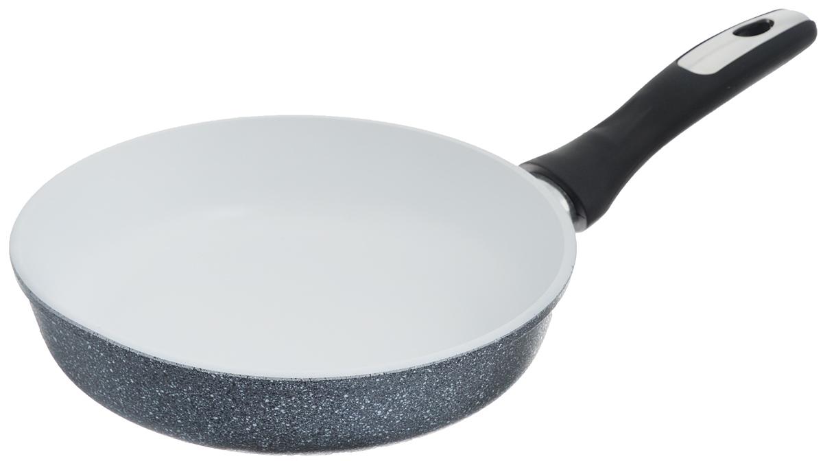 Сковорода Катюша, с керамическим покрытием. Диаметр 22 см3522Сковорода Катюша выполнена из высококачественного алюминия. Внутреннее керамическое покрытие предотвращает пригорание и обеспечивает быстрое и качественное приготовление пищи. Покрытие выдерживает температуру до 450°С и обладает высокой прочностью. При нагревании не выделяется вредной примеси PFOA, сковорода экологична и абсолютно безопасна для приготовления пищи. Утолщенное дно обеспечивает быстрый нагрев и равномерное распределение тепла по всей поверхности. Ручка, выполненная из пластика, не нагревается в процессе готовки и обеспечивает надежный хват. Подходит для всех типов плит, кроме индукционных. Можно мыть в посудомоечной машине. Высота стенки: 5,5 см. Длина ручки: 16,5 см.