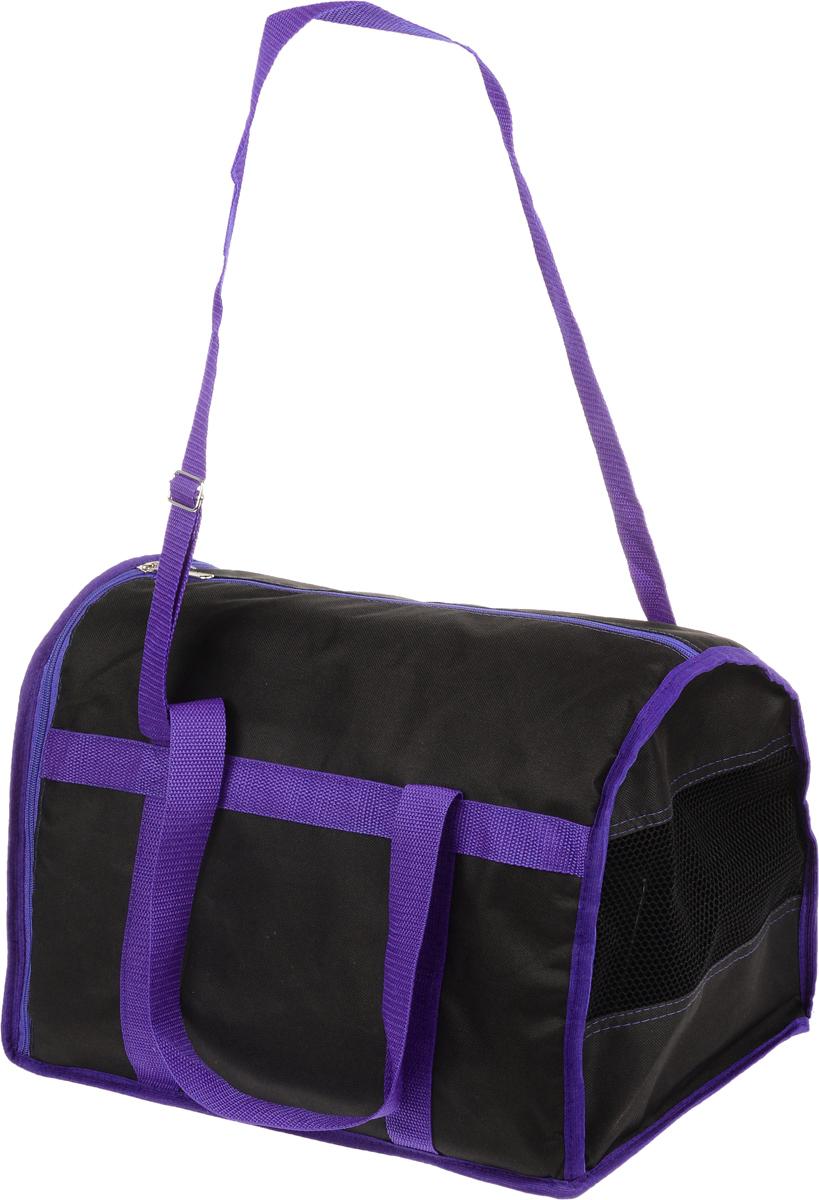 Сумка-переноска для животных Каскад Спорт, цвет: черный, фиолетовый, 40 х 28 х 29 см26000102Текстильная сумка-переноска Каскад Спорт для собак мелких пород и кошек имеет твердое основание, которое не позволит животному провисать. С одной стороны переноски имеется специальная сетчатая вставка, чтобы ваш любимец мог дышать. С другой стороны сумка закрывается на застежку-молнию. В верхней части изделия есть застежка-молния, открывающая доступ в отделение для необходимых вам вещей. Для удобной переноски у сумки имеются две ручки и регулируемая лямка. При необходимости сумку можно сложить. Сумка-переноска Каскад Спорт понравится вашим домашним любимцам.