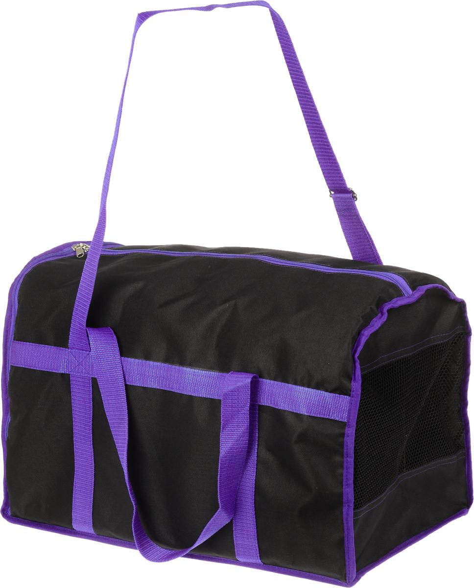 Сумка-переноска для животных Каскад Спорт, цвет: черный, фиолетовый, 42 х 30 х 32 см26000103Текстильная сумка-переноска Каскад Спорт для собак мелких пород и кошек имеет твердое основание, которое не позволит животному провисать. С одной стороны переноски имеется специальная сетчатая вставка, чтобы ваш любимец мог дышать. С другой стороны сумка закрывается на застежку-молнию. В верхней части изделия есть застежка-молния, открывающая доступ в отделение для необходимых вам вещей. Для удобной переноски у сумки имеются две ручки и регулируемая по длине лямка. При необходимости сумку можно сложить. Сумка-переноска Каскад Спорт понравится вашим домашним любимцам.