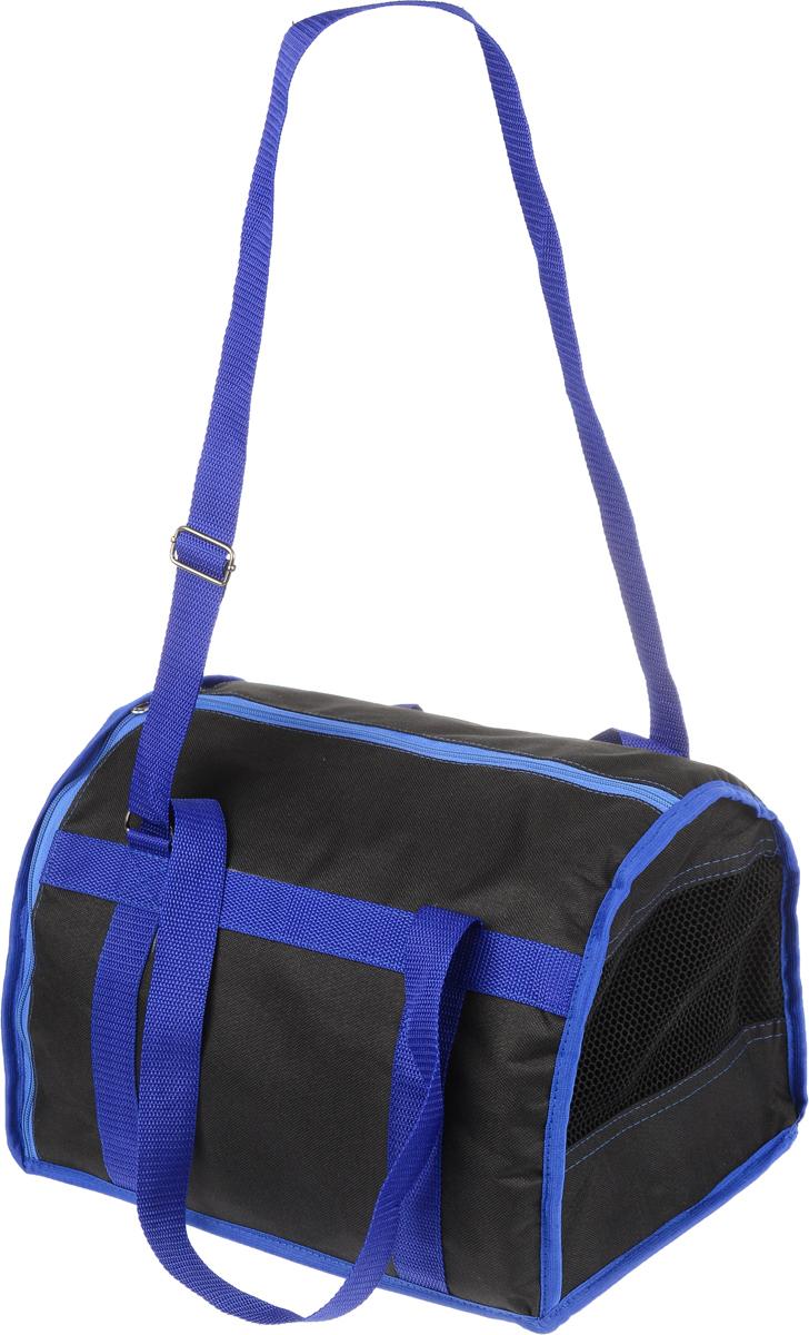 Сумка-переноска для животных Каскад Спорт, цвет: черный, синий, 37 х 27 х 25 см26000101_черный, синийТекстильная сумка-переноска Каскад Спорт для собак мелких пород и кошек имеет твердое основание, которое не позволит животному провисать. С одной стороны переноски специальная сетчатая вставка, чтобы ваш любимец мог дышать. С другой стороны сумка закрывается на застежку-молнию. В верхней части изделия есть застежка-молния, открывающая доступ в отделение для необходимых вам вещей. Для удобной переноски у сумки имеются две ручки и регулируемая лямка. При необходимости сумку можно сложить. Сумка-переноска Каскад Спорт понравится вашим домашним любимцам.