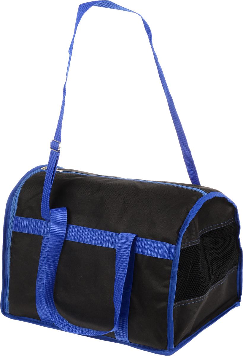 Сумка-переноска для животных Каскад Спорт, цвет: черный, синий, 40 х 28 х 29 см26000102_черный, синийТекстильная сумка-переноска Каскад Спорт для собак мелких пород и кошек имеет твердое основание, которое не позволит животному провисать. С одной стороны переноски имеется специальная сетчатая вставка, чтобы ваш любимец мог дышать. С другой стороны сумка закрывается на застежку-молнию. В верхней части изделия есть застежка-молния, открывающая доступ в отделение для необходимых вам вещей. Для удобной переноски у сумки имеются две ручки и регулируемая лямка. При необходимости сумку можно сложить. Сумка-переноска Каскад Спорт понравится вашим домашним любимцам.