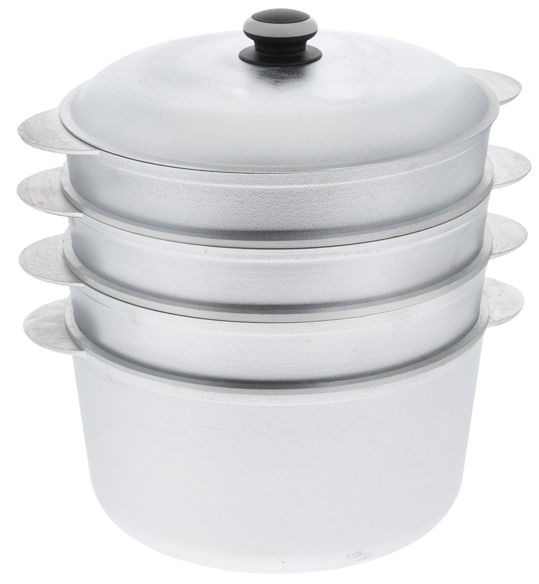 Мантоварка Катюша с крышкой, 3-уровневая, 8 лмк80/3Мантоварка Катюша изготовлена из высококачественного алюминия, что делает посуду износостойкой, прочной и практичной. Глубина уровней изделия, диаметр отверстий и объем специально предназначены для приготовления мантов. В мантоварке также можно готовить и другие блюда: овощи, котлеты или пельмени. Готовить на пару очень просто, продукты не пригорают и не склеиваются, а готовое блюдо выходит рассыпчатым и ароматным. Питательные элементы и витамины не растворяются в воде, а остаются в продуктах. Еда получается не только полезной, но и по-настоящему вкусной. Нижнюю часть манотоварки можно использовать как казан. Казаном принято называть большую кастрюлю толстыми стенками и выпуклым овальным дном. В казане можно приготовить много самых разнообразнейших блюд восточной кухни, но, наверное, самое известное и распространенное блюдо, которое приготавливается в казане, это любимый многими плов. Подходит для газовых и электрических плит. ...