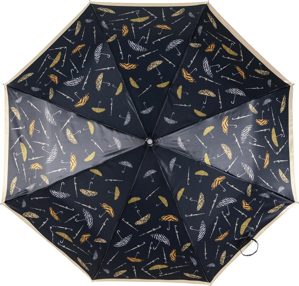 Зонт женский Henry Backer, 3 сложения, цвет: черный. U21203 Animal printU21203 Animal printЖенский зонт с сатиновым куполом «Животный принт», автомат. У модели удобная, нескользящая в ладони рукоять и ветроустойчивый каркас.