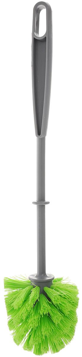 Ершик для туалета York, цвет: серый, салатовый. 65016501_серый, салатовыйЕршик для туалета York выполнен из пластика с жестким ворсом, изготовленным из сложных полимеров. Ершик отлично чистит поверхность, а грязь с него легко смывается водой. Длина ершика: 35 см. Размер рабочей части ершика: 8 х 8 х 8,5 см.