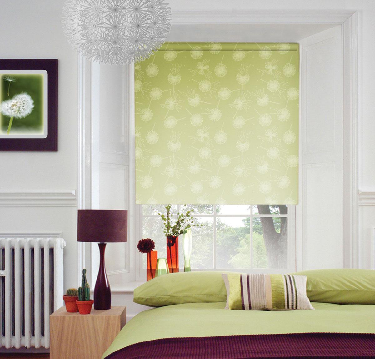Штора рулонная Миниролло, 83х170см, тканевые, рисунок: зеленый одуванчик4083207