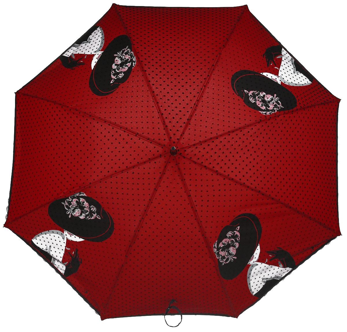 Зонт женский Flioraj, механика, трость, цвет: красный. 121203 FJ121203 FJЭлегантный зонт FJ. Уникальный каркас из анодированной стали, карбоновые спицы помогут выдержать натиск ураганного ветра. Улучшенный механизм зонта, максимально комфортная ручка держателя, увеличенный в длину стержень, тефлоновая пропитка материала купола - совершенство конструкции с изысканностью изделия на фоне конкурентоспособной цены.