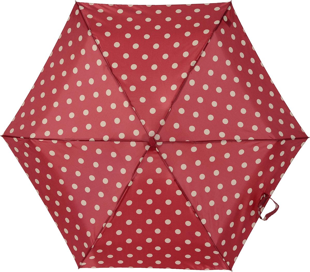 Зонт женский механика Cath Kidston Fulton, расцветка: горошек на красном. L521-3058 ButtonSpotBerryL521-3058 ButtonSpotBerryПрочный, необыкновенно компактный зонт, который с легкостью поместится в маленькую сумочку. Удобный плоский чехол. Облегченный алюминиевый каркас с элементами из фибергласса. Ветроустойчивая конструкция. Размеры зонта в сложенном виде 15смх6смх3см, диаметр купола 87 см.