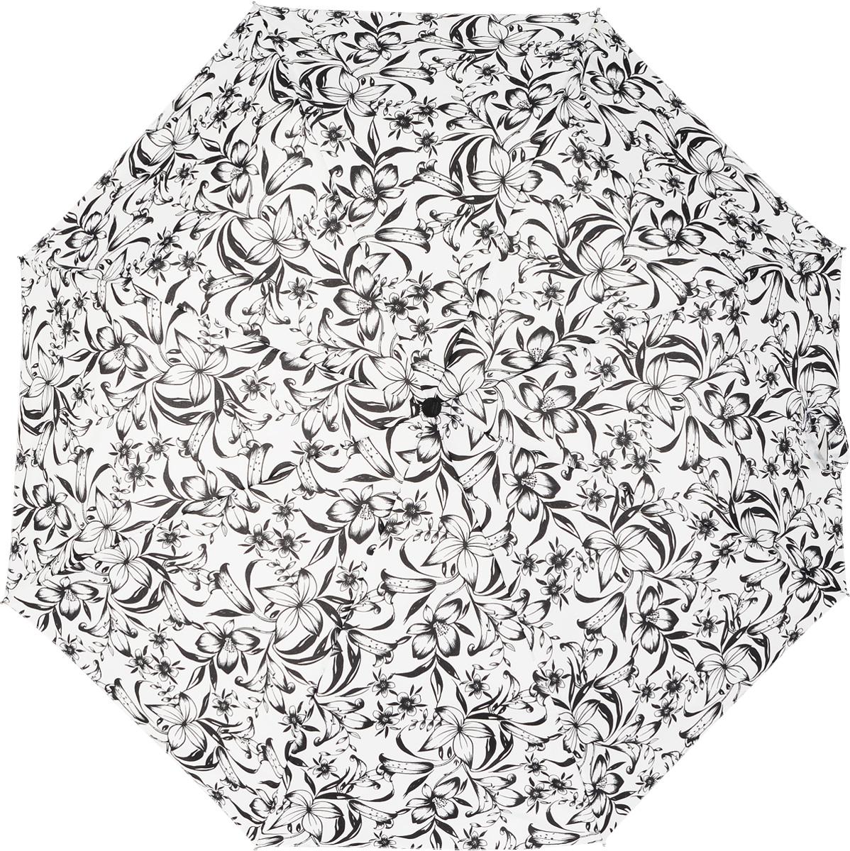 Зонт женский автомат Fulton, расцветка: черные расцветкаы. J346-2298 DrawnFloralJ346-2298 DrawnFloralЖенский зонт «Цветы» в черно-белой гамме, автомат, Drawn Floral, open&close, J346 2S2298, Fulton Идеальный зонт для тех, кто, по разным причинам избегая аксессуаров ярких расцветок, умеет акцентировать свой облик в рамках черно-белой гаммы. Изысканная стилизация под рисунок черной тушью завораживает взгляд. Белый купол зонта помимо того, что выглядит празднично, обеспечивает комплиментарное для лица освещение. Модель ветроустойчивая.