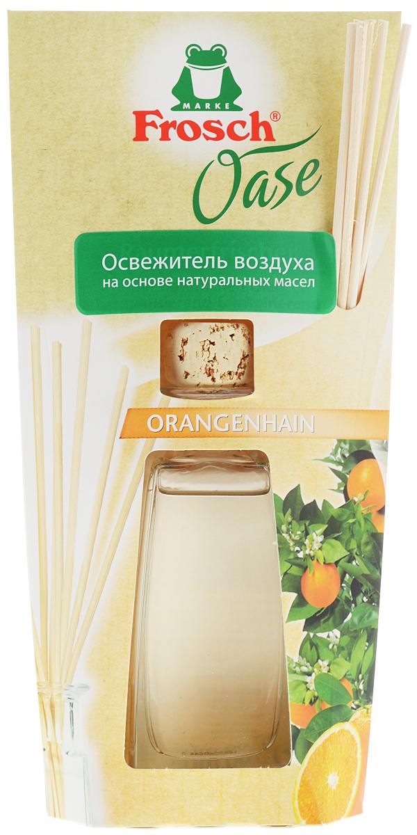 Ароматизатор воздуха Frosch Апельсин, 90 мл108084Ароматизатор воздуха Frosch Апельсин представляет собой чувственное вдохновение от природы в стильной и элегантной стеклянной бутылке. Натуральный ненавязчивый аромат благотворно влияет на микроклимат в помещении, вызывает приятные воспоминания и пробуждает чувства. Аромат апельсина обладает успокаивающим эффектом и способствует расслаблению. Пробка и палочки изготовлены из натуральной древесины. Способ применения: выньте пробку и вставьте деревянные палочки в бутылку. Чем больше деревянных палочек вы используете, тем интенсивней аромат в комнате. Состав: отдушки, масла апельсина. Товар сертифицирован.