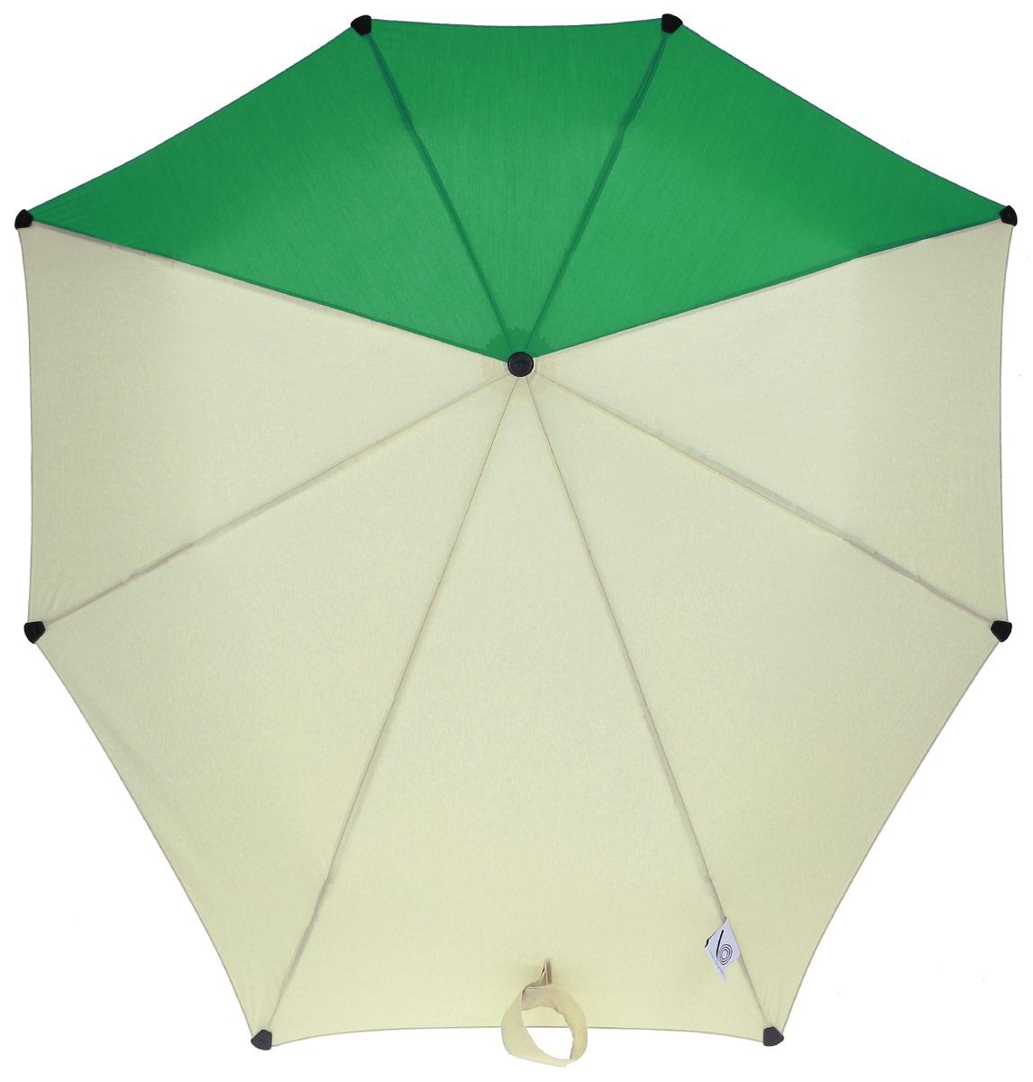 Зонт-автомат Senz, цвет: бежевый, зеленый. 10240071024007Инновационный противоштормовый зонт, выдерживающий любую непогоду. Входит в коллекцию senz6, разработанную совместно со знаменитыми дизайнерами фэшн-индустрии и отвечающую новейшим веяниям моды. Форма купола продумана так, что вы легко найдете самое удобное положение на ветру – без паники и без борьбы со стихией. Закрывает спину от дождя. Благодаря своей усовершенствованной конструкции, зонт не выворачивается наизнанку даже при сильном ветре. Характеристики: - тип — автомат - три сложения - выдерживает порывы ветра до 80 км/ч - УФ-защита 50+ - эргономичная ручка - безопасные колпачки на кончиках спиц - в комплекте чехол с фирменным принтом - гарантия 2 года Размер купола - 91 х 91 см., длина в сложенном виде - 28 см., в раскрытом - 57 см. Весит 360 г.