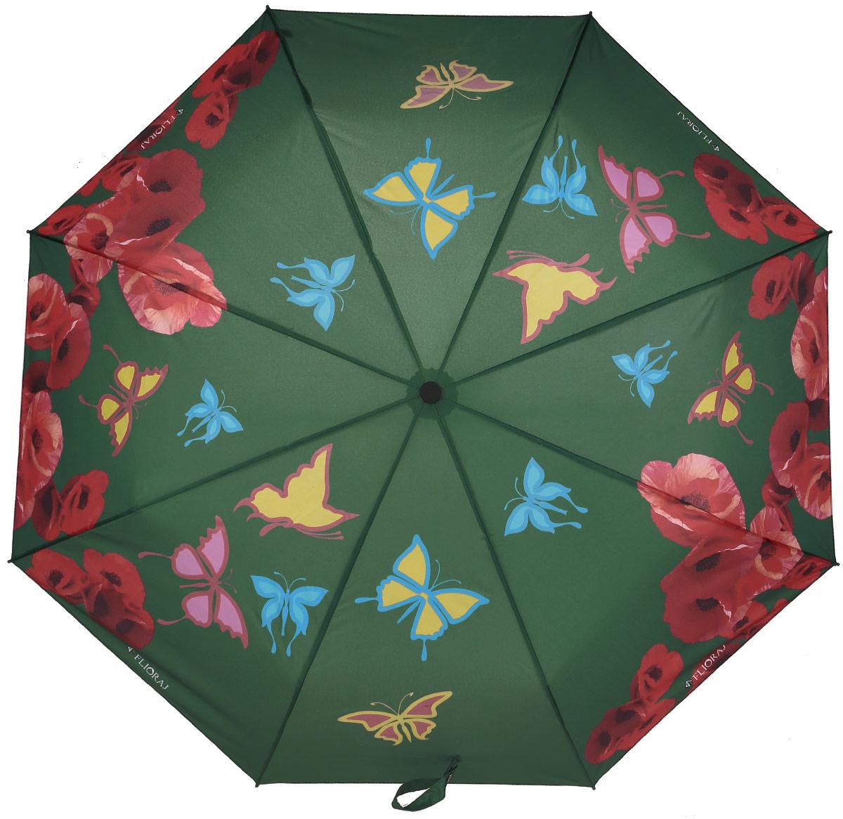 Зонт женский Flioraj, автомат, 3 сложения, цвет: зеленый, красный. 210203 FJ210203 FJНеобычный женский зонт расцветает яркими красками под каплями дождя! И вот уже у вас над головой закружил хоровод бабочек. Новый эффект проявления рисунка на разноцветных зонтах. Такого еще не было! Нежные женственные цветы и легкие бабочки придадут легкость вашему образу и весеннее настроение. А качественные материалы купола и каркаса обеспечат надежную защиту. Когда разноцветные элементы вновь становятся белыми, это означает, что зонт полностью высох, и его можно складывать. Уникальный каркас из анодированной стали, карбоновые спицы помогут выдержать натиск ураганного ветра. Оснащен системой антиветер. Улучшенный механизм зонта, максимально комфортная ручка держателя, увеличенный на 4,5 см стержень, тефлоновая пропитка материала купола - совершенство конструкции с изысканностью изделия на фоне конкурентоспособной цены.