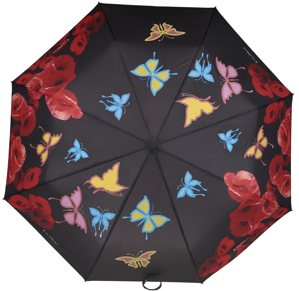 Зонт женский Flioraj, автомат, 3 сложения, цвет: красный, черный. 210205 FJ