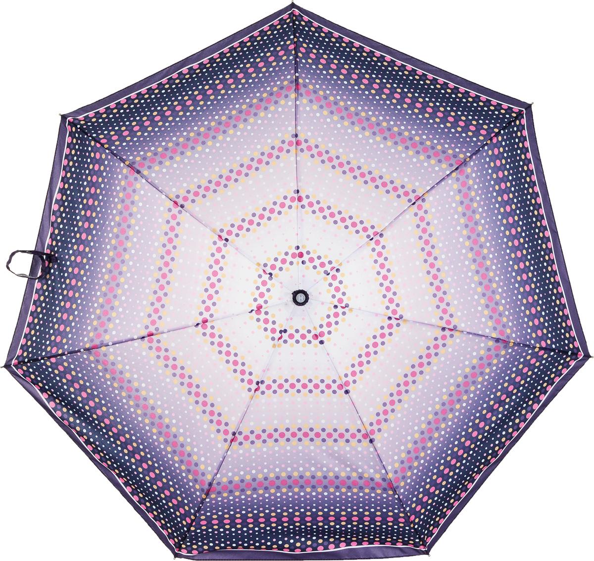 Зонт женский Henry Backer, 3 сложения, цвет: фиолетовый. U26203 PeasU26203 PeasНарядный женский зонт «Горох», автомат Наряду со сталью для каркаса использован алюминий и фибергласс, поэтому зонт достаточно легкий для зонтов-автоматов.